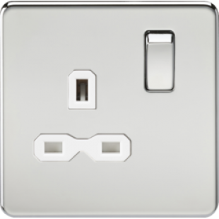 Screwless 13A 1G DP Switched Socket - Polished Chrome