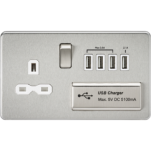 Screwless 1G 13A Switched Socket With Quad USB Charger 5V DC 5.1A - Brushed Chrome With White Insert