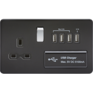 Screwless 13A Switched Socket With Quad USB Charger (5.1A) - Matt Black With Chrome Rocker