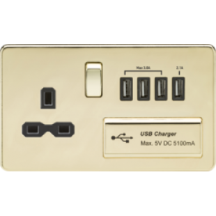Screwless 13A Switched Socket With Quad USB Charger (5.1A) - Polished Brass With Black Insert