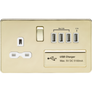 Screwless 13A Switched Socket With Quad USB Charger (5.1A) - Polished Brass With White Insert