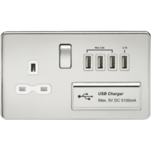 Screwless 1G 13A Switched Socket With Quad USB Charger 5V DC 5.1A - Polished Chrome With White Inser