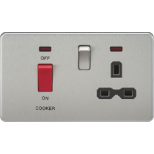 Screwless 45A DP Switch & 13A Switched Socket With Neons - Brushed Chrome With Black Insert