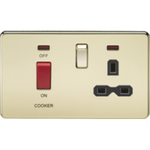 Screwless 45A DP Switch And 13A Switched Socket With Neons - Polished Brass With Black Insert