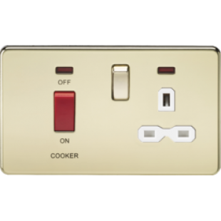 Screwless 45A DP Switch And 13A Switched Socket With Neons - Polished Brass With White Insert