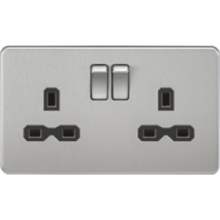Screwless 13A 2G DP Switched Socket - Brushed Chrome With Black Insert