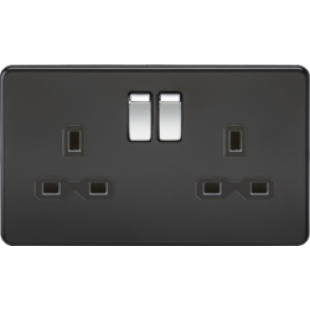 Screwless 13A 2G DP Switched Socket - Matt Black With Black Insert And Chrome Rockers