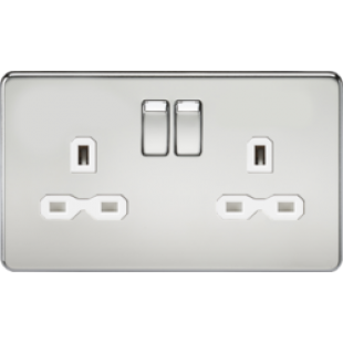 Screwless 13A 2G DP Switched Socket - Polished Chrome With White Insert
