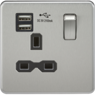 Screwless 13A 1G Switched Socket With Dual USB Charger - Brushed Chrome With Black Insert