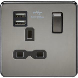 Screwless 13A 1G Switched Socket With Dual USB Charger (2.1A) - Black Nickel With Black Insert