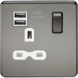 Screwless 13A 1G Switched Socket With Dual USB Charger (2.1A) - Black Nickel With White Insert