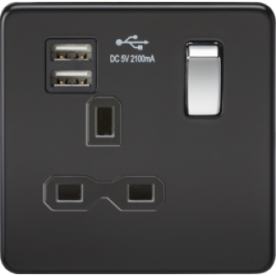 Screwless 13A 1G Switched Socket With Dual USB Charger (2.1A) - Matt Black With Chrome Rocker