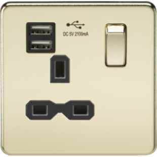 Screwless 13A 1G Switched Socket With Dual USB Charger (2.1A) - Polished Brass With Black Insert