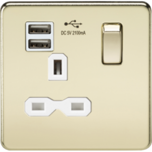 Screwless 13A 1G Switched Socket With Dual USB Charger (2.1A) - Polished Brass With White Insert
