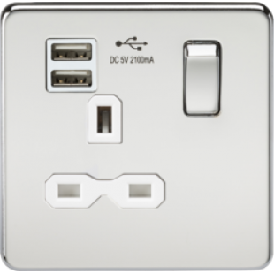 Screwless 13A 1G Switched Socket With Dual USB Charger - Polished Chrome With White Insert