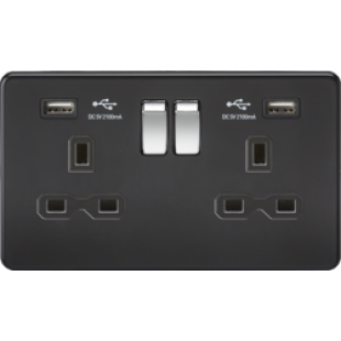 Screwless 13A 2G Switched Socket With Dual USB Charger (2.1A) - Matt Black With Chrome Rockers