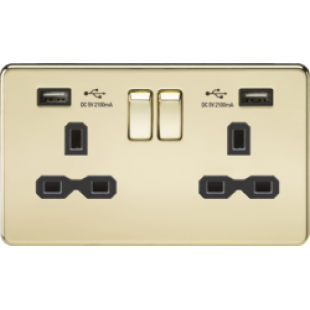 Screwless 13A 2G Switched Socket With Dual USB Charger (2.1A) - Polished Brass With Black Insert
