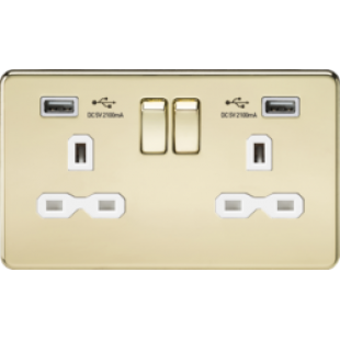 Screwless 13A 2G Switched Socket With Dual USB Charger - Polished Brass With White Insert