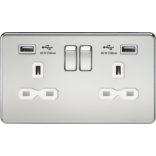 Screwless 13A 2G Switched Socket With Dual USB Charger - Polished Chrome With White Insert