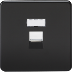 Screwless RJ45 Network Outlet - Matt Black With Chrome Shutter