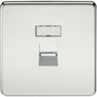 Screwless RJ45 Network Outlet - Polished Chrome
