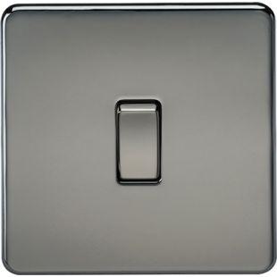 Knightsbridge Screwless 10A 1G 2 Way Switch - Black Nickel