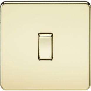 Knightsbridge Screwless 10A 1G 2 Way Switch - Polished Brass
