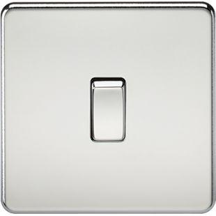 Knightsbridge Screwless 10A 1G 2 Way Switch - Polished Chrome