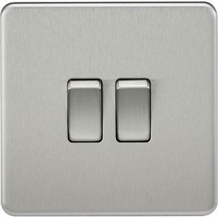 Screwless 10A 2G 2 Way Switch - Brushed Chrome