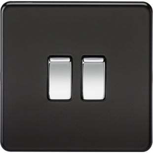 Screwless 10A 2G 2-Way Switch - Matt Black with Chrome Rocker