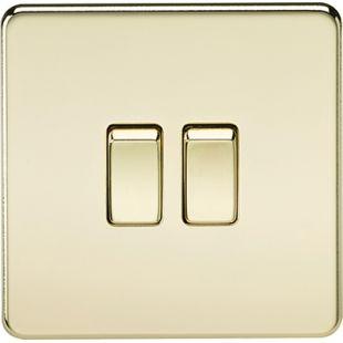 Screwless 10A 2G 2 Way Switch - Polished Brass