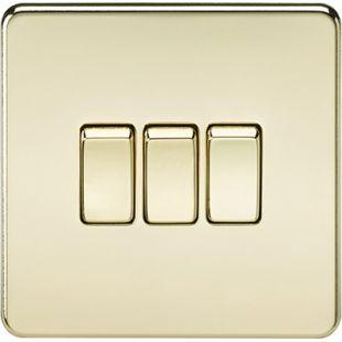 Screwless 10A 3G 2 Way Switch - Polished Brass