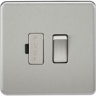 Screwless 13A Switched Fused Spur Unit - Brushed Chrome