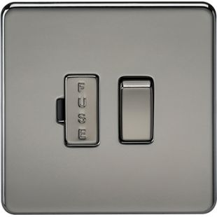 Screwless 13A Switched Fused Spur Unit - Black Nickel