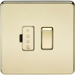 Screwless 13A Switched Fused Spur Unit - Polished Brass