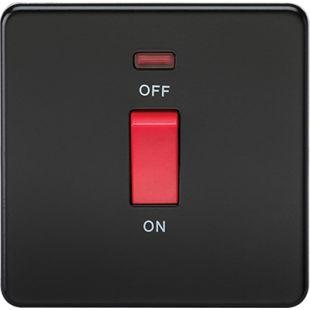 Screwless 45A 1G DP Switch With Neon - Matt Black