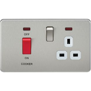 Screwless 45A DP Switch & 13A Switched Socket With Neons - Brushed Chrome With White Insert