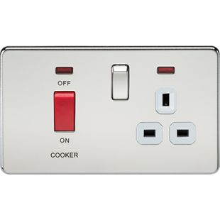 Screwless 45A DP Switch & 13A Switched Socket With Neons - Polished Chrome With White Insert