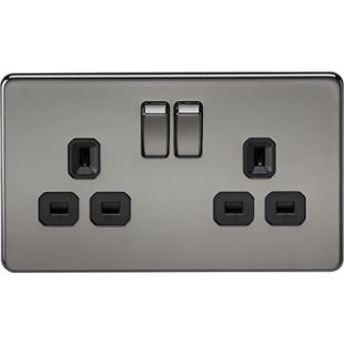 Screwless 13A 2G DP Switched Socket - Black Nickel With Black Insert