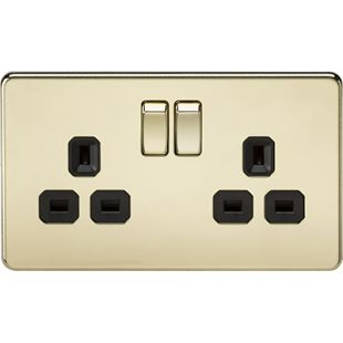 Screwless 13A 2G DP Switched Socket - Polished Brass With Black Insert