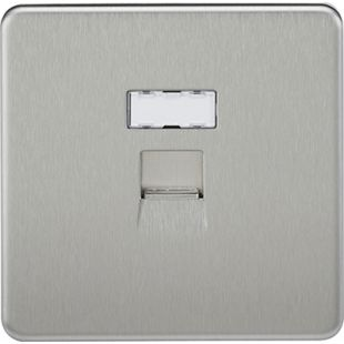 Screwless RJ45 Network Outlet - Brushed Chrome