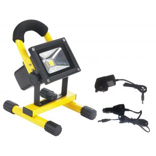 Red Arrow LED Floodlight Rechargeable 10W 6500K Yellow Fixture & Black Lamp
